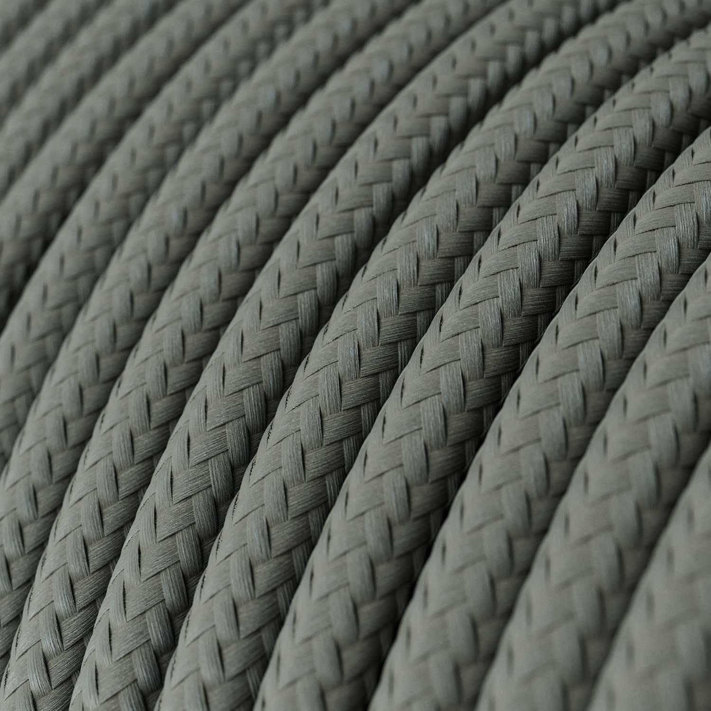 Cavo Elettrico rotondo rivestito in tessuto effetto Seta Tinta Unita Grigio RM03
