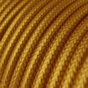 Cavo Elettrico rotondo rivestito in tessuto effetto Seta Tinta Unita Oro RM05