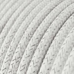Cavo Elettrico rotondo rivestito in tessuto effetto Seta Tinta Unita Glitterato Bianco RL01
