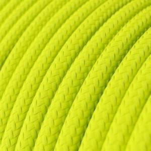Cavo Elettrico rotondo rivestito in tessuto effetto Seta Tinta Unita Giallo Fluo RF10