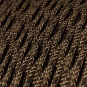 Cavo Elettrico trecciato rivestito in Lino Naturale Marrone TN04