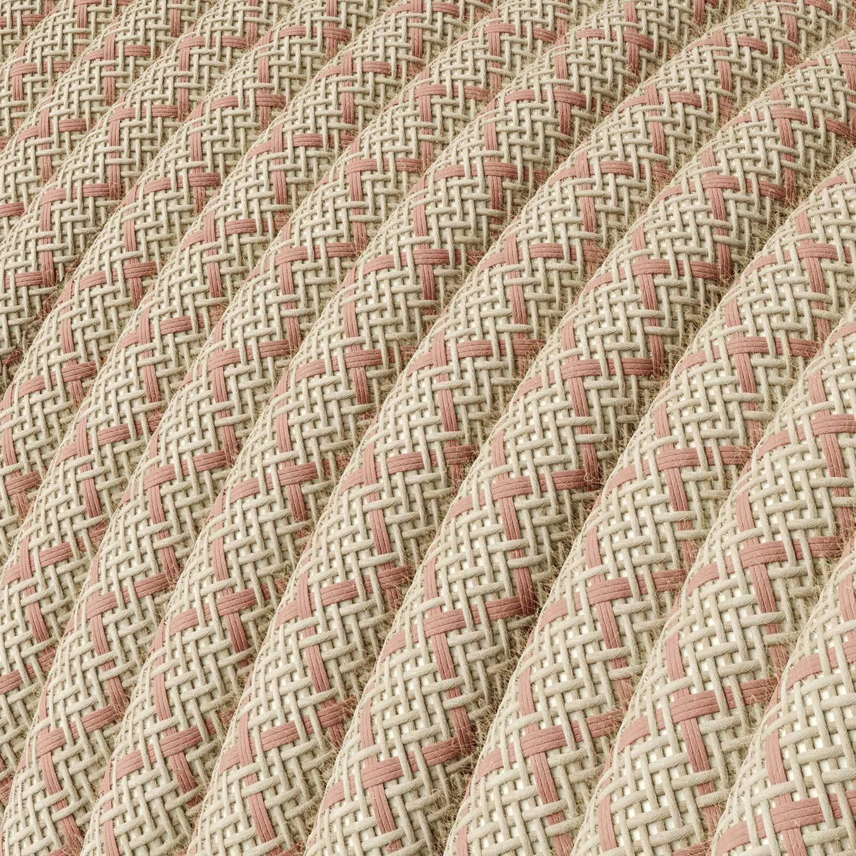 Cavo Elettrico rotondo rivestito in Cotone Losanga color Rosa Antico e Lino Naturale RD61