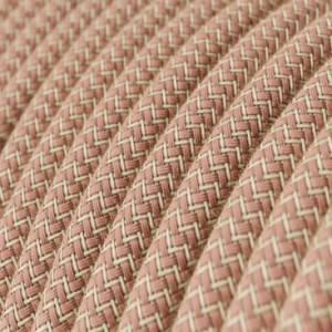 Cavo Elettrico rotondo rivestito in Cotone ZigZag color Rosa Antico e Lino Naturale RD71