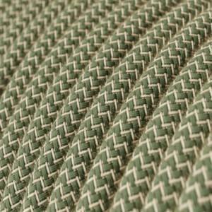 Cavo Elettrico rotondo rivestito in Cotone ZigZag color Verde Timo e Lino Naturale RD72