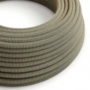Cavo Elettrico rotondo rivestito in Cotone ZigZag color Antracite e Lino Naturale RD74