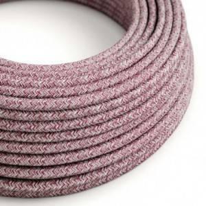 Cavo Elettrico rotondo rivestito in Cotone Tweed Burgundy color Rosso, Lino Naturale e Rifinitura Glitter RS83