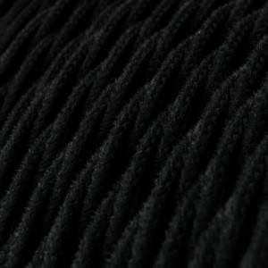 Cavo Elettrico trecciato rivestito in Cotone Tinta Unita Nero TC04