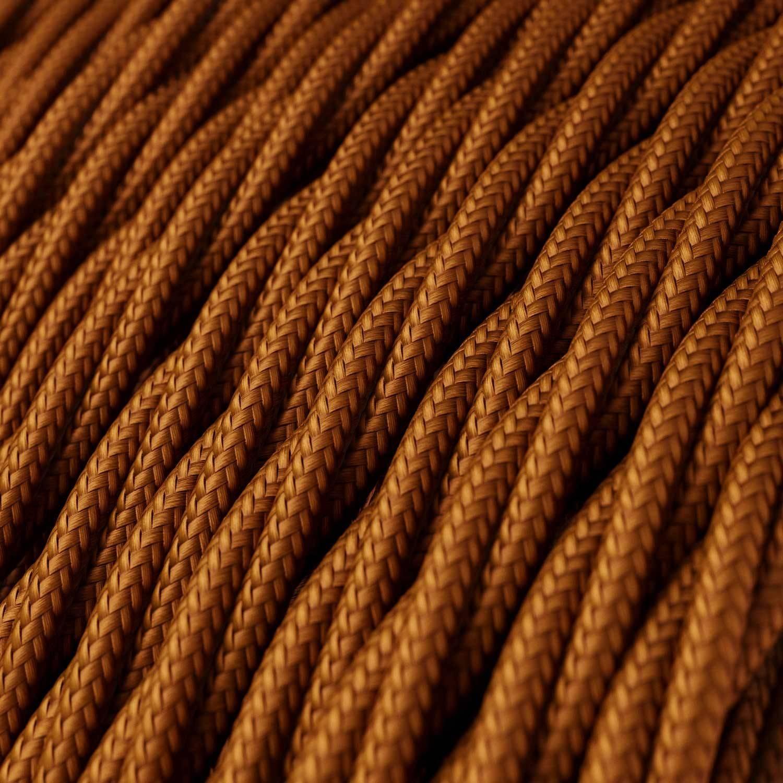 Cavo Elettrico trecciato rivestito in tessuto effetto Seta Tinta Unita Whiskey TM22