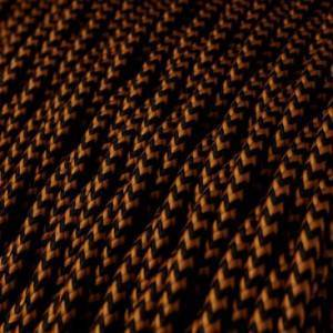 Cavo Elettrico trecciato rivestito in tessuto effetto Seta Nero e Whiskey TZ22