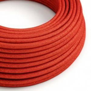 Cavo Elettrico rotondo rivestito in tessuto effetto Seta Tinta Unita Glitterato Rosso RL09
