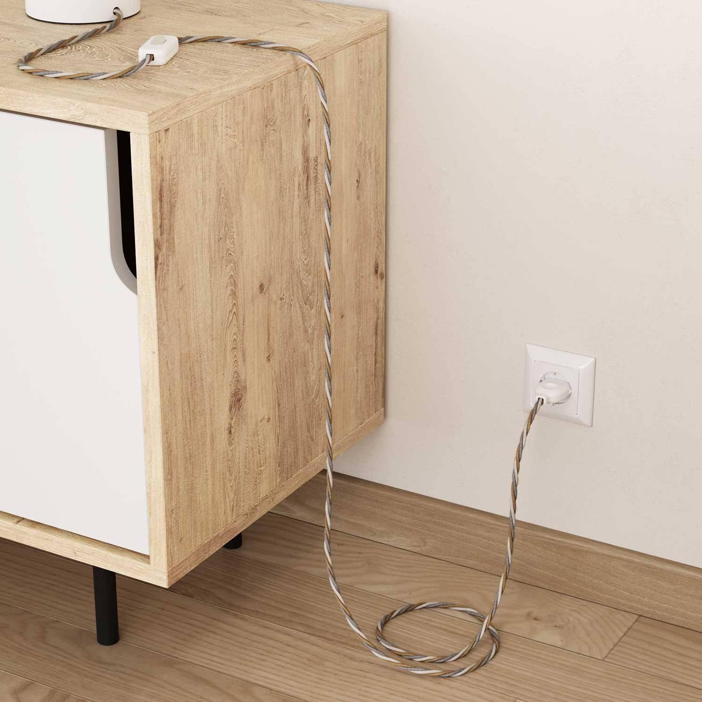 Cavo Elettrico trecciato rivestito in Juta, Cotone e Lino Naturale Country TN07