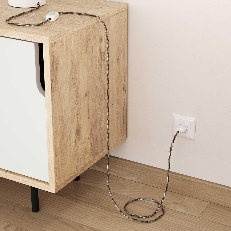 Cavo Elettrico trecciato rivestito in tessuto effetto Seta Windsor TG01