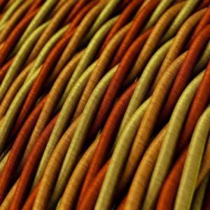 Cavo Elettrico trecciato rivestito in tessuto effetto Seta Orange TG04