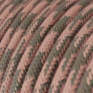 Cavo Elettrico rotondo rivestito in Cotone Bicolore Rosa Antico e Grigio RP26