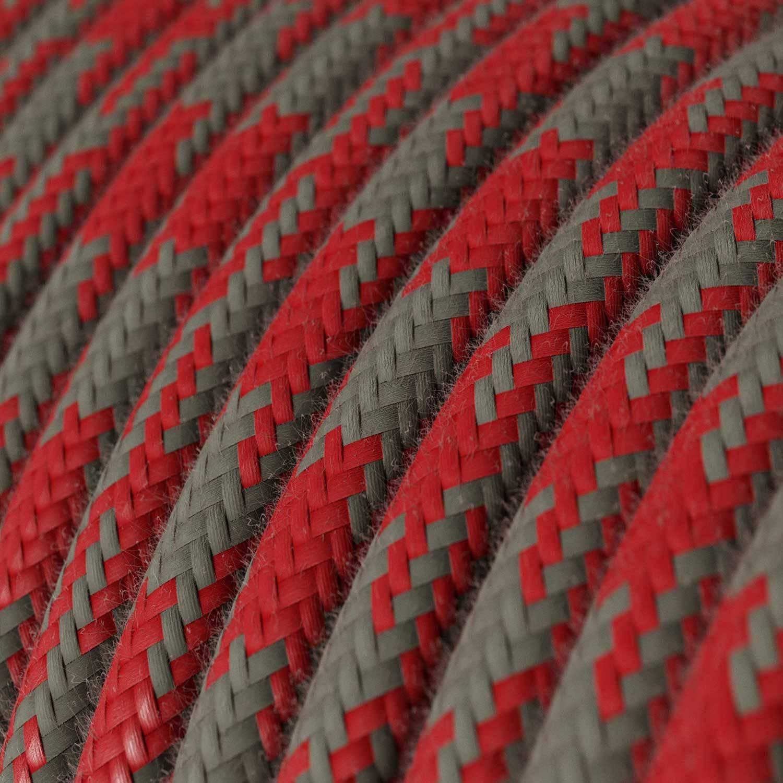 Cavo Elettrico rotondo rivestito in Cotone Bicolore Rosso Fuoco e Grigio RP28