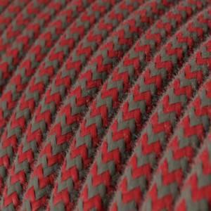 Cavo Elettrico rotondo rivestito in Cotone ZigZag Rosso Fuoco e Grigio RZ28