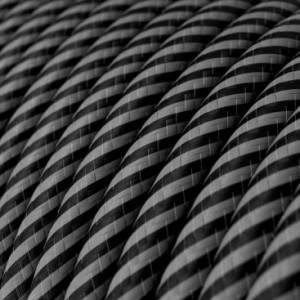Cavo Elettrico rotondo Vertigo HD rivestito in tessuto strisce sottili Grafite e Nero ERM38