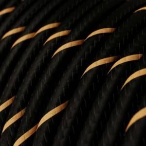 Cavo Elettrico rotondo Vertigo HD rivestito in tessuto Nero e Oro ERM42