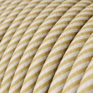 Cavo Elettrico rotondo Vertigo HD rivestito in tessuto strisce sottili Crema e Nocciola ERM53