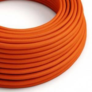 Cavo Elettrico rotondo rivestito in tessuto effetto Seta Tinta Unita Arancione RM15