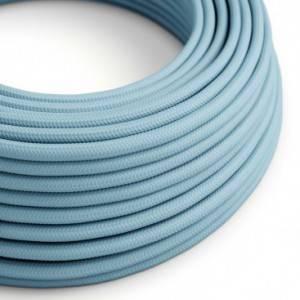 Cavo Elettrico rotondo rivestito in tessuto effetto Seta Tinta Unita Azzurro Baby RM17