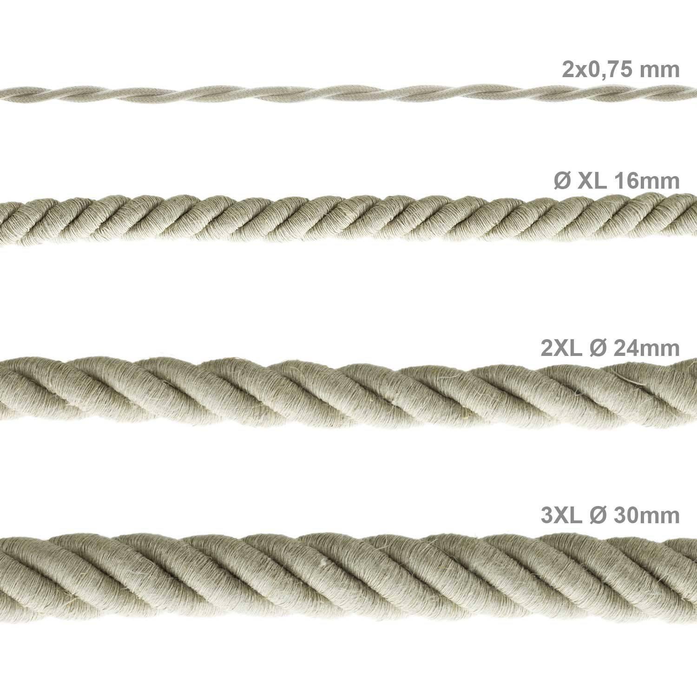 Cordone XL, cavo elettrico 3x0,75. Rivestimento in lino naturale. Diametro 16mm.