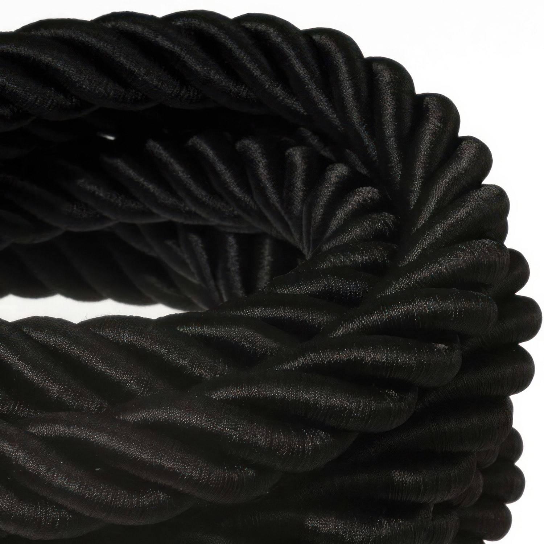 Cordone 3XL, cavo elettrico 3x0,75. Rivestimento in tessuto nero lucido. Diametro 30mm.