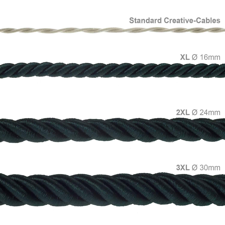 Cordone 3XL, cavo elettrico 3x0,75. Rivestimento in tessuto verde scuro lucido. Diametro 30mm.