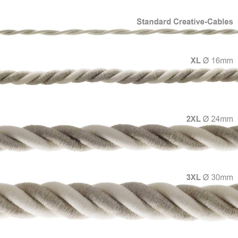 Cordone 2XL, cavo elettrico 3x0,75. Rivestimento in lino naturale e cotone grezzo. Diametro 24mm.