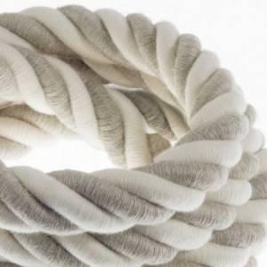 Cordone 3XL, cavo elettrico 3x0,75. Rivestimento in lino naturale e cotone grezzo. Diametro 30mm.