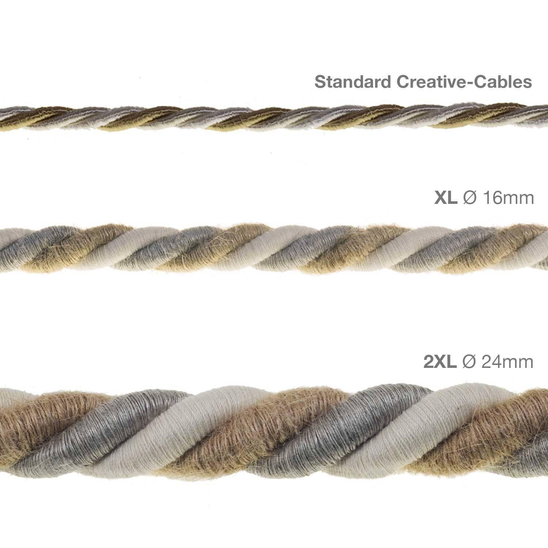Cordone 2XL, cavo elettrico 3x0,75. Rivestimento in juta, cotone e lino naturale Country. Diametro 24mm.