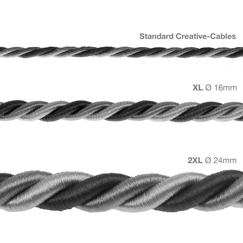 Cordone XL, cavo elettrico 3x0,75. Rivestimento in tessuto lucido Orleans. Diametro 16mm.
