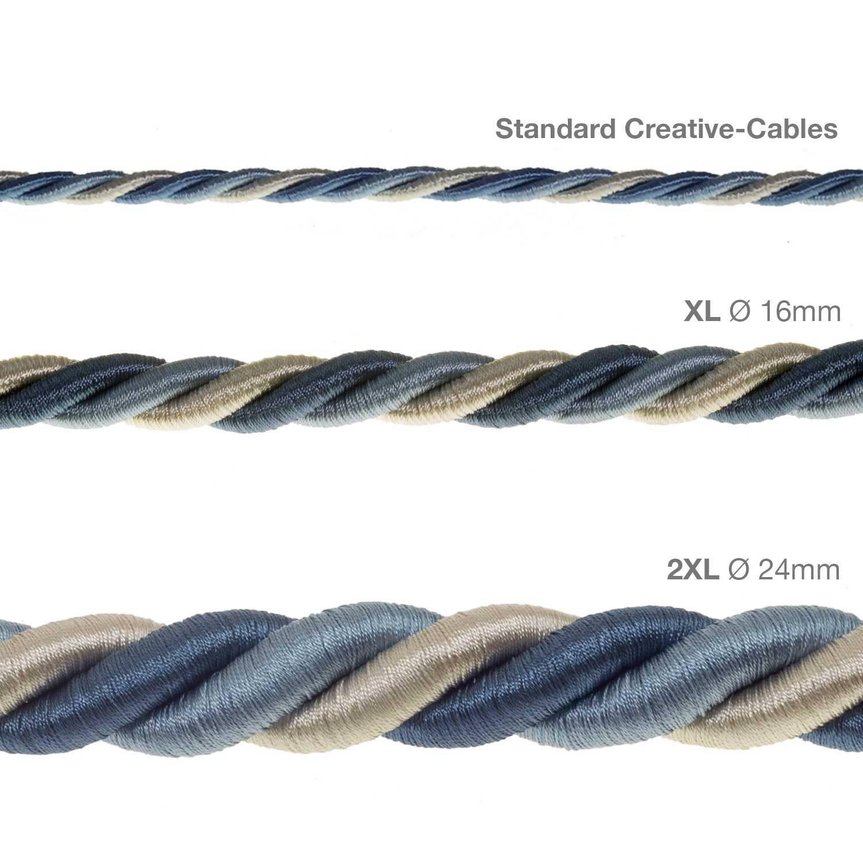Cordone 2XL, cavo elettrico 3x0,75. Rivestimento in tessuto lucido Bernadotte. Diametro 24mm.