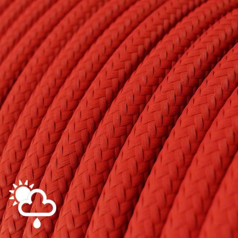 Cavo elettrico per esterno rotondo rivestito in tessuto Effetto Seta Rosso SM09
