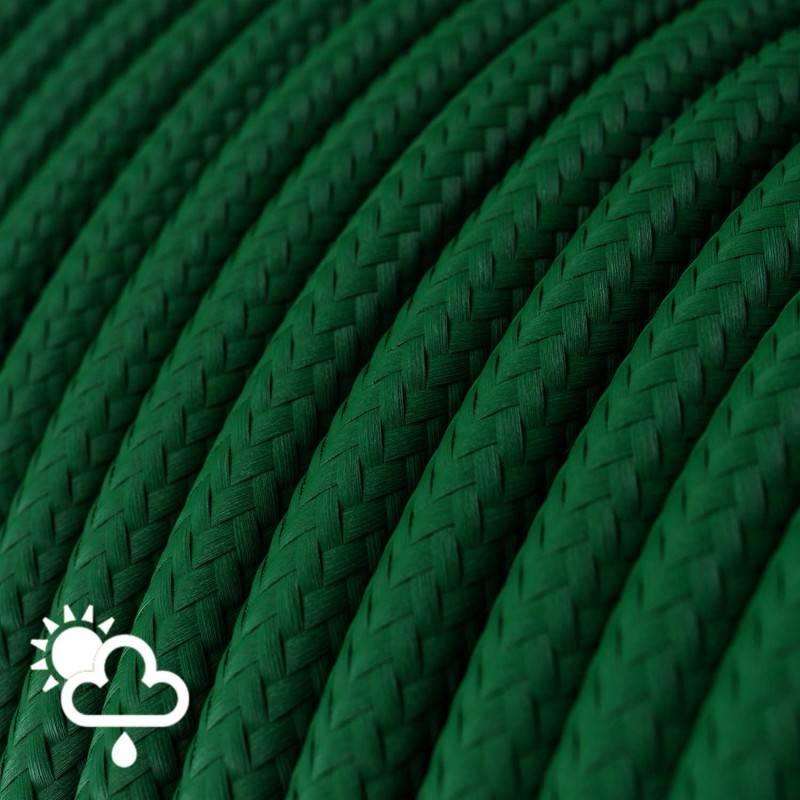 Cavo elettrico per esterno rotondo rivestito in tessuto Effetto Seta Verde Scuro SM21