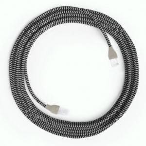 Cavo Lan Ethernet Cat 5e con connettori RJ45 - RZ04 Effetto Seta Bianco Nero