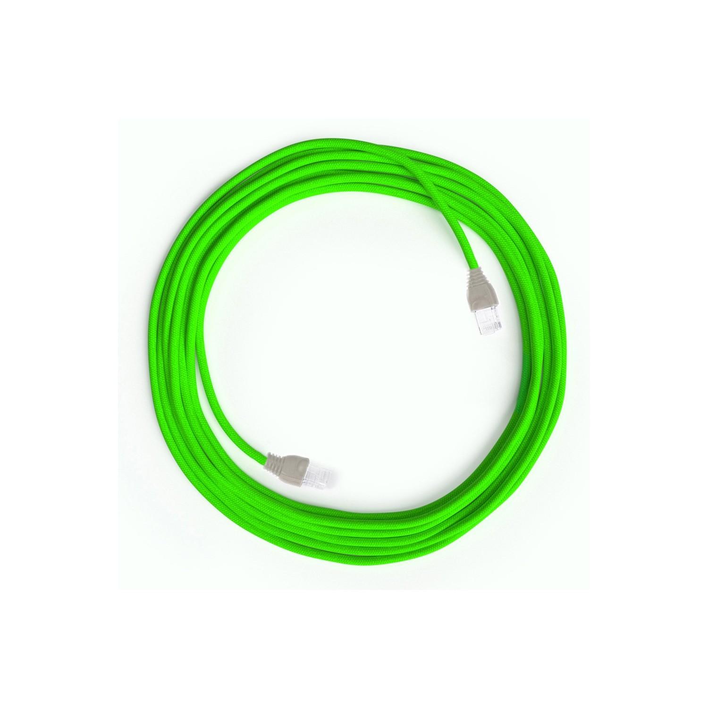 Cavo Lan Ethernet Cat 5e con connettori RJ45 - RF06 Effetto Seta Verde Fluo