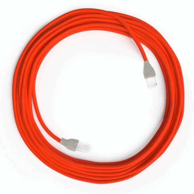 Cavo Lan Ethernet Cat 5e con connettori RJ45 - RF15 Effetto Seta Arancione Fluo
