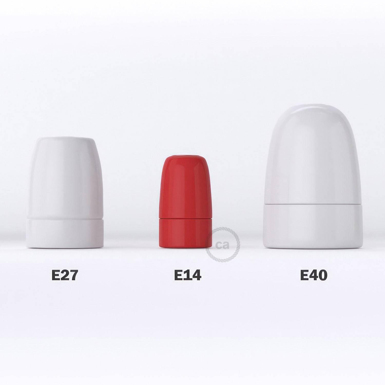 Kit portalampada E14 in porcellana