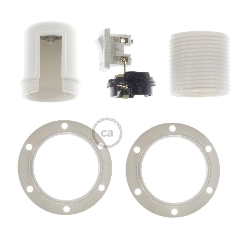 Kit portalampada E27 in termoplastica con doppia ghiera per paralume e interruttore
