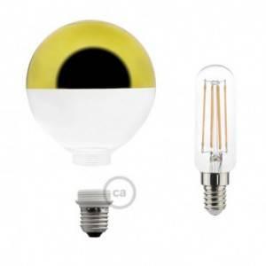 Lampadina Decorativa Componibile LED G125 con vetro semisfera oro 4,5W E27 Dimmerabile 2700K