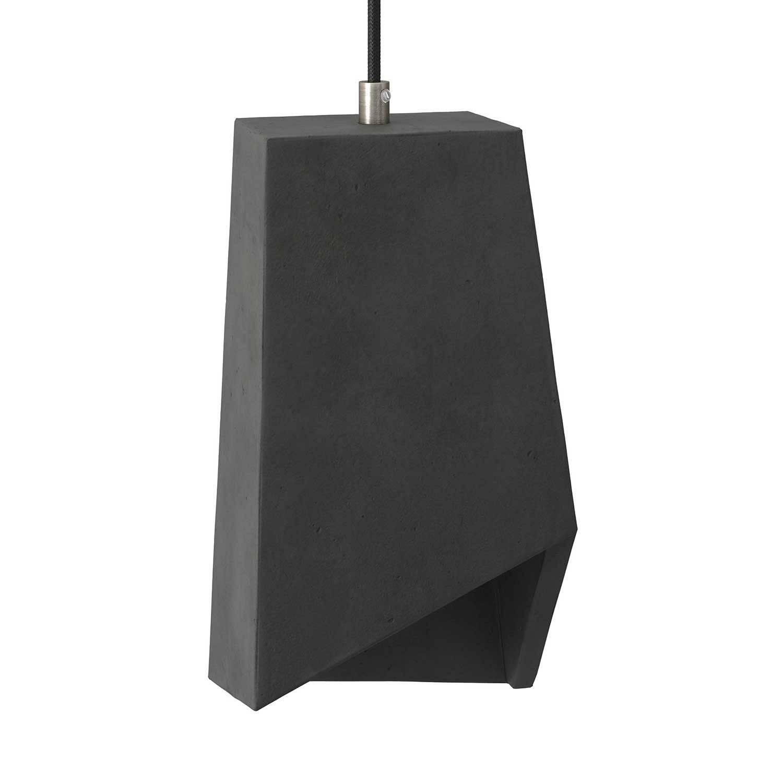 Paralume in cemento Prisma per lampada a sospensione, completo di serracavo e portalampada E27
