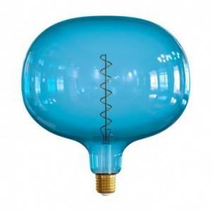 """LIMITED EDITION - Lampadina LED XXL Cobble linea Pastel """"Sbagliate"""" Ocean Blue filamento Spirale 4W E27 Dimmerabile 2200K"""