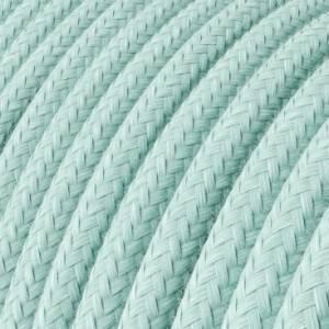 Cavo Elettrico rotondo rivestito in Cotone Tinta Unita Verde Celadon RC18