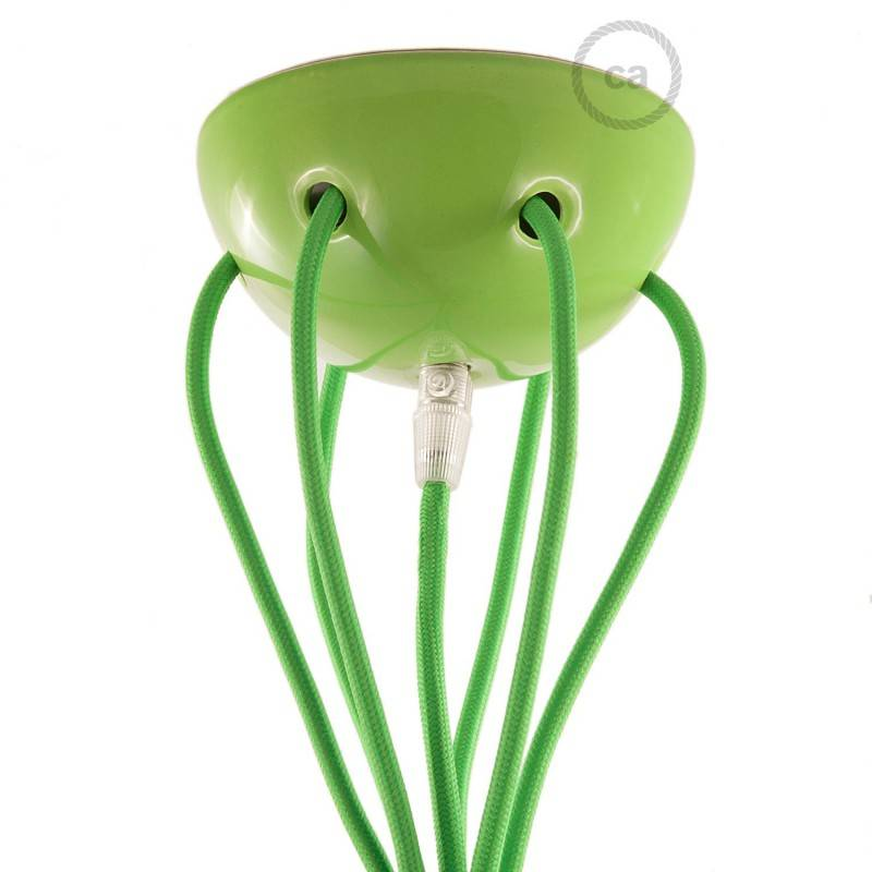 Lampada a sospensione multipla a 6 cadute Made in Italy completa di cavo tessile e finiture in ceramica colorata
