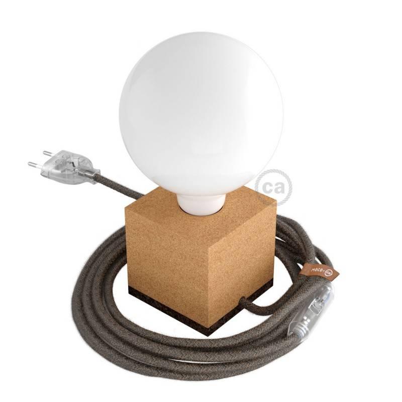 MoCo Posaluce Cubetto in sughero naturale completo di cavo tessile, interruttore e spina 2 poli