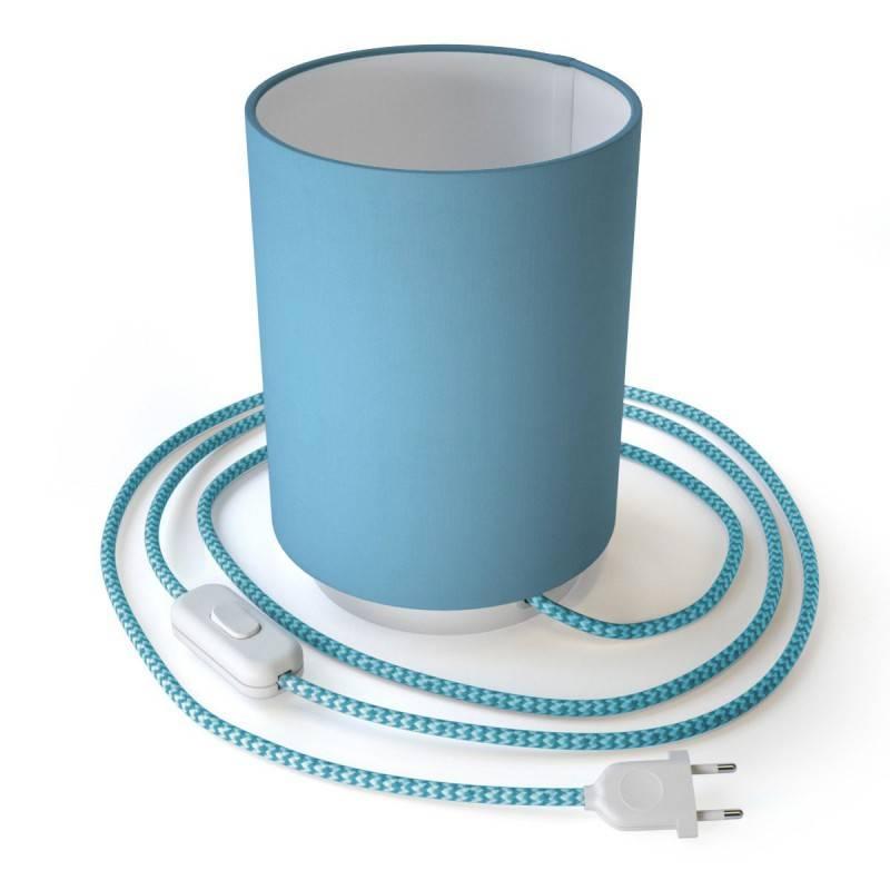 Posaluce in metallo con paralume Cilindro Celeste, completo di cavo tessile, interruttore e spina a 2 poli