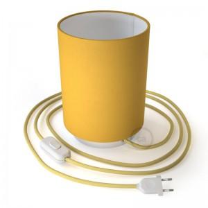 Posaluce in metallo con paralume Cilindro Giallo Vivo, completo di cavo tessile, interruttore e spina a 2 poli