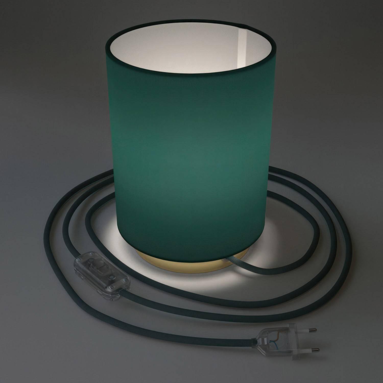 Posaluce in metallo con paralume Cilindro Cinette Petrolio, completo di cavo tessile, interruttore e spina a 2 poli
