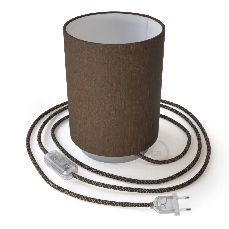 Posaluce in metallo con paralume Cilindro Camelot Marrone, completo di cavo tessile, interruttore e spina a 2 poli